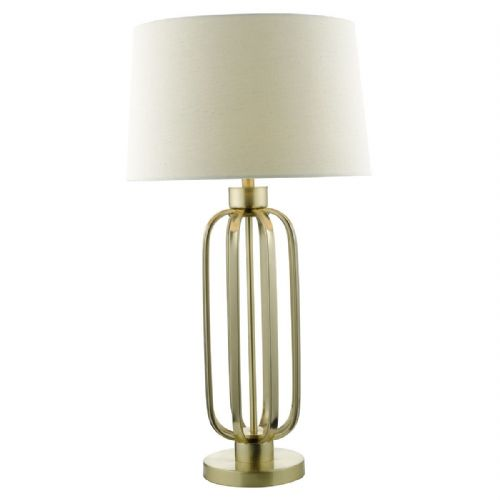 LUCIE Table Lamp Satin Brass Complete With Shade LUC4241 (Class 2 Double Insulated)